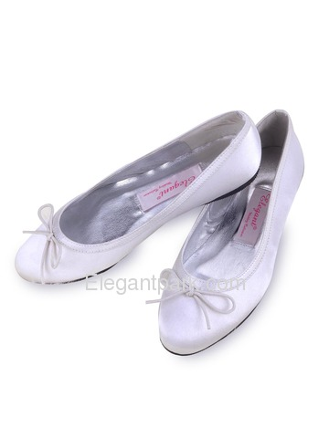 Elegantpark White Almond Toe Satin Bowknot Wedding Evening Party Shoes (EP11103)