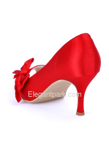 Elegantpark Red Peep Toe Stiletto Heel Satin Bowknot Bridal Evening Party Shoes (WM-004C)