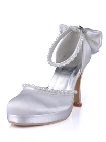 Elegantpark Almond Toe Pearls Bow Platform Stiletto Heel Satin Wedding Evening Party Shoes
