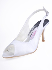Elegantpark White Peep Toe Slingback Stiletto Heel Satin Wedding Shoes Sandals