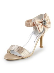 Elegantpark Champagne Open Toe Stiletto Heel Bowknot Satin Evening & Party Shoes