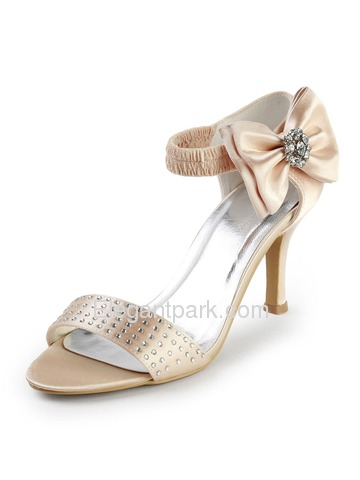 Elegantpark Champagne Open Toe Stiletto Heel Bowknot Satin Evening & Party Shoes (EP2052)