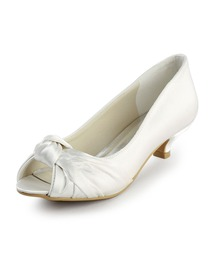 Ivory Peep Toe Low Heel Satin Wedding & Evening Party Shoes