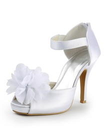 Elegantpark Peep Toe Platform Stiletto Heel Satin Flower Wedding & Evening Party Shoes