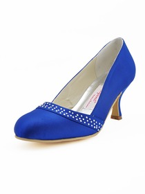 Elegantpark Blue Modern Rhinestone Stiletto Heel Satin Evening Party Prom Shoes