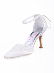 Elegantpark Satin Upper Stiletto Heel Ribbon Tie With Applique Buckle Pretty Wedding Bridal Shoes