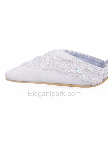 Elegantpark Satin Upper Stiletto Heel Ribbon Tie With Applique Buckle Pretty Wedding Bridal Shoes (A722)