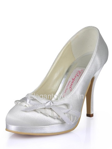 Elegantpark White Platforms Stiletto Heel Satin Wedding Party Shoes (EL-032-PF)