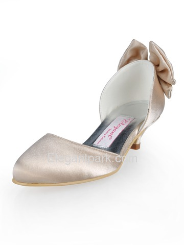 Elegantpark Satin Almond Toe Spool Heel Bow Satin Evening Party Shoes (AJ091)