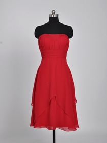 Red A-Line Ruched Knee-length Organza Bridesmaid Dress