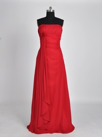 Red Pencil Strapless Brush Train Chiffon Long Bridesmaid Dress (5178)