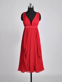 Red A-Line Draped Straps Plunging Tea-length Chiffon Bridesmaid Dress