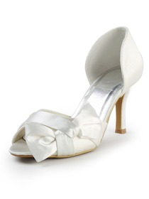 Elegantpark Peep Toe Stiletto Heel Bowknot Satin Wedding Evening Party Shoes
