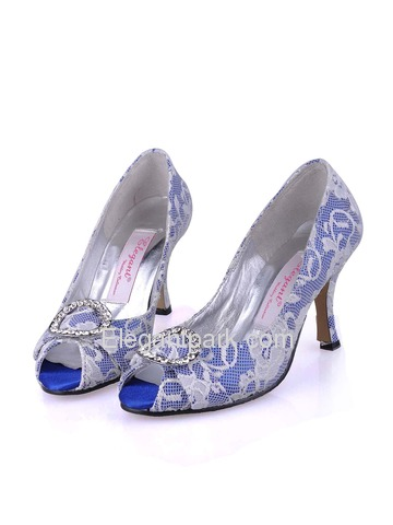 Elegant Peep Toe Buckle Stiletto Heel Satin With Lace Shoes (A3045)