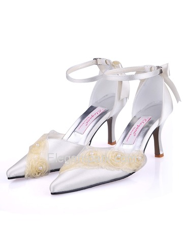 Elegantpark Satin Upper Pointy Toe Stiletto Heel With Buckle Trendy Bridal Shoes (AF006)