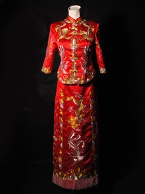 Suzhou-style Emboidered Dragon and Phonix Silk Brocade Cheongsam