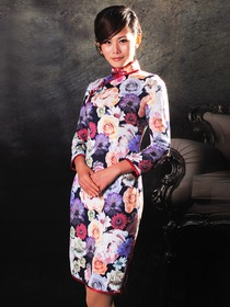 Elastic Knitted Fabric Long Sleeves Rose Pattern Cheongsam