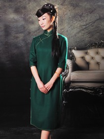 Dark Green Woolen Half Sleeves Tea-length Cheongsam