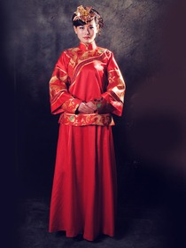 Rayon Satin Dragon and Phoenix Embroidery Top and Skirt Cheongsam
