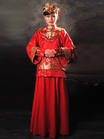 Rayon Satin Dragon and Pheonix Embroidery Nanjing brocade Piping Coat and Dress Cheongsam
