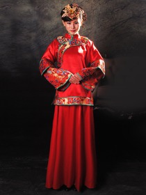 Rayon Satin Dragon and Phoenix Embroidery Nanjing Brocade Piping Coat and Dress Cheongsam
