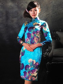 Brillian Blue Inkjet Oil Painting-imitated Flower Pattern Silk Cheongsam