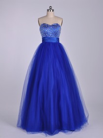 Royal Blue Ball Gown Fluted Sweetheart Floor-length Netting Quinceanera Dress