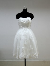 White Ball Gown Sweetheart Strapless Appliques Knee-Length Satin Wedding Dress