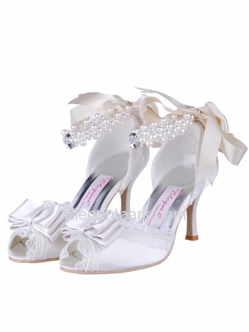 Elegant Peep Toe Stiletto Heel Bowknot Satin Bridal Evening Party Shoes (A3202)