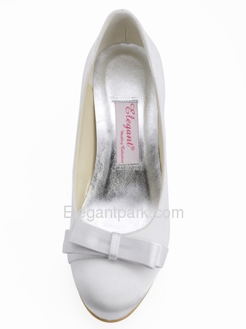 Elegantpark Round Toes Bowknot Stiletto Heel Satin Bridal Shoes (EP11019)