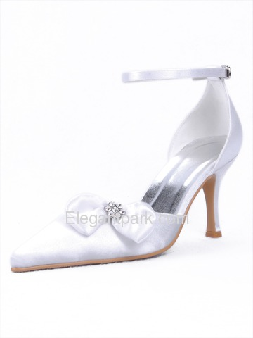 Elegantpark Modern Pointy Toes Spool Heel Satin Pumps Shoes (EP11023)