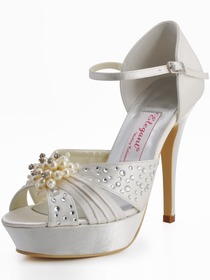 Elegantpark Satin Stiletto Heel Platform Pumps Pearls and Rhinestone Wedding Shoes