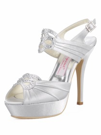 Elegantpark Satin Stiletto Heel Platform Rhinestone Wedding Shoes