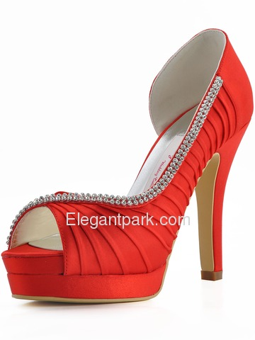 Elegantpark Ruched Peep Toe Pumps Platforms Stiletto Heel Satin Shoes (EP11064-IPF)
