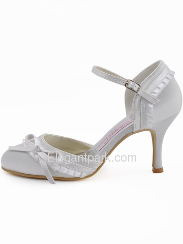Elegantpark Satin Closed Toe Stiletto Heel Bridal&Evening Shoes With Bow And Buckle (EP11070)