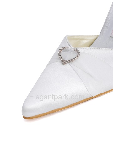 Elegantpark Satin Upper Pointy Toe Stiletto Heel Ribbon Tie Rhinestone Buckle Stylish Wedding Bridal Shoes (A560)