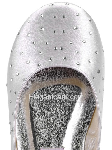 Elegantpark Ivory Closed Toe Flat Satin Rhinestones Shoes (EL-030)