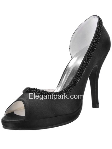 Elegantpark White Elegant Platforms Stiletto Heel Satin Shoes (EL-005-PF)