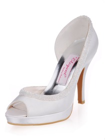 Elegantpark White Elegant Platforms Stiletto Heel Satin Shoes