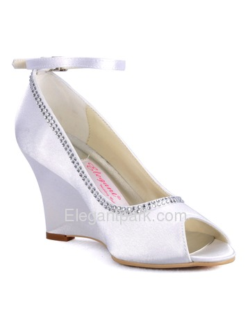 Elegantpark Satin Upper Peep Toe Wedges Heel Rhinestone Buckle Modern Wedding Bridal Shoes More Colors Available (A2071)
