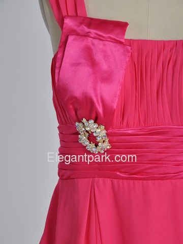 Hot Pink Short Asymmetrical One-shoulder Silk Chiffon Bridesmaid Dress (EL901)