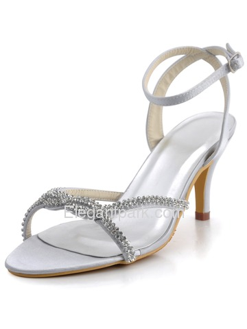 Elegantpark Silver Open Toe Satin Rhinestones Stiletto Heel Slingback Bridal Party Shoes (EP2056)