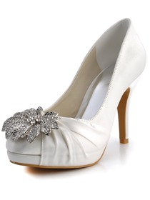 Elegantpark Round Toe Satin Rhinestones Stiletto Heel Platform Bridal Party Shoes