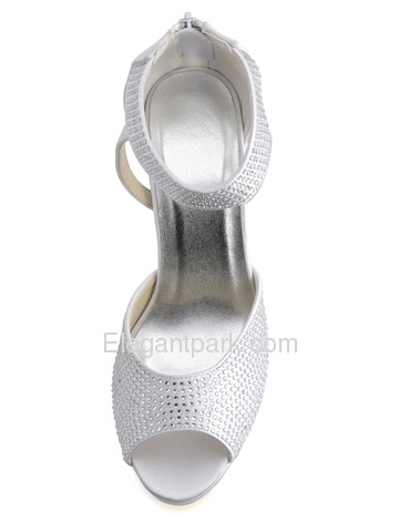 Elegantpark Peep Toe Stiletto Heel Platform Satin Rhinestones Back Zipper Bridal Party Shoes (EP2059-PF)