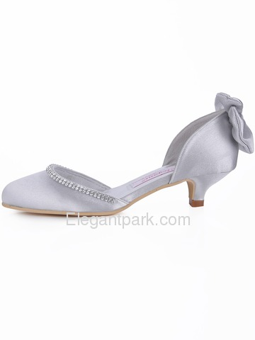 Elegantpark Silver-Gray Almond Toe Rhinestone Bow Satin Evening Party Shoes (EP41012)