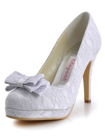 Elegantpark White Almond Toe Bow Platfrom Stiletto Heel Lace Wedding Bridal Shoes