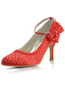 Elegantpark Red Almond Toe Rhinestone Buckle Bow Stiletto Heel Satin Evening Party Shoes