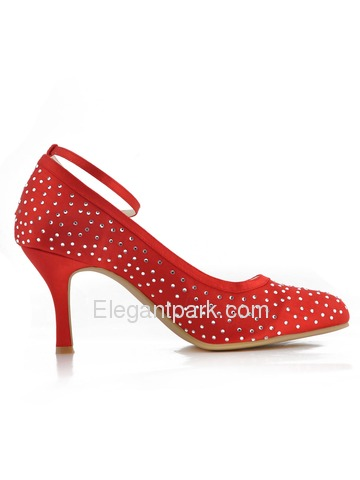 Elegantpark Red Almond Toe Rhinestone Buckle Bow Stiletto Heel Satin Evening Party Shoes (EP2012)