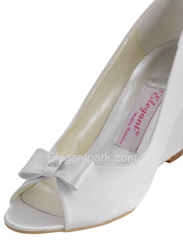 Elegantpark White Peep Toe Bow Rhinestone Satin Wedges Wedding Bridal Shoes (EP41020)
