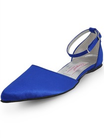 Elegantpark Blue Pointy Toe Buckle Low Heel Satin Wedding Bridal Flats